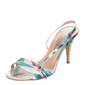 Chanel CC Logo Bow Accent Slingback Sandals